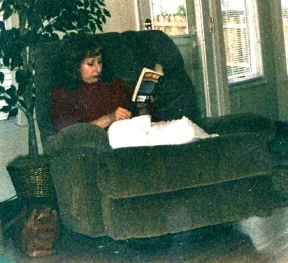 This is almost every picture I have of my mother. She was always reading. And she didn't like to get her picture taken, so we had to sneak them when she wasn't looking.