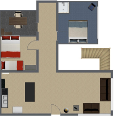 Calhoun's house includes the living room (bottom right), kitchen (bottom left), Daniel's temporary bedroom (upper right), and Calhoun's office (upper left.) The second bedroom is actually never talked about in