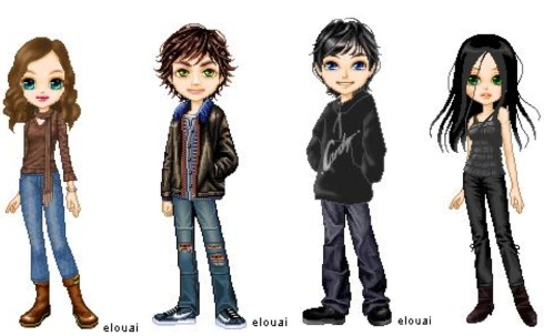 Protagonists from left to right: Jessica Taylor, Eric Welborn, Shoman, and the nameless shade.
