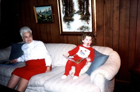 As a comedic picture: this is me, shocked by novels, at 3 years old, and my great-grandmother quite thrown off by my craziness.