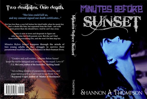 The official Minutes Before Sunset cover, back and all, decided from your words!