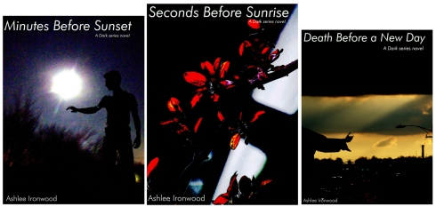 Original covers for A Timely Death trilogy: sizes represent order in which they were written
