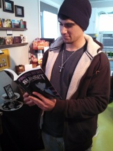 #1 SEO Term was Andrew Vogel from Under the Dome. Here he is reading Minutes Before Sunset's 1st edition.