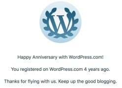 It was my four-year blogiversary, and WordPress was my #1 referrer other than search engines!